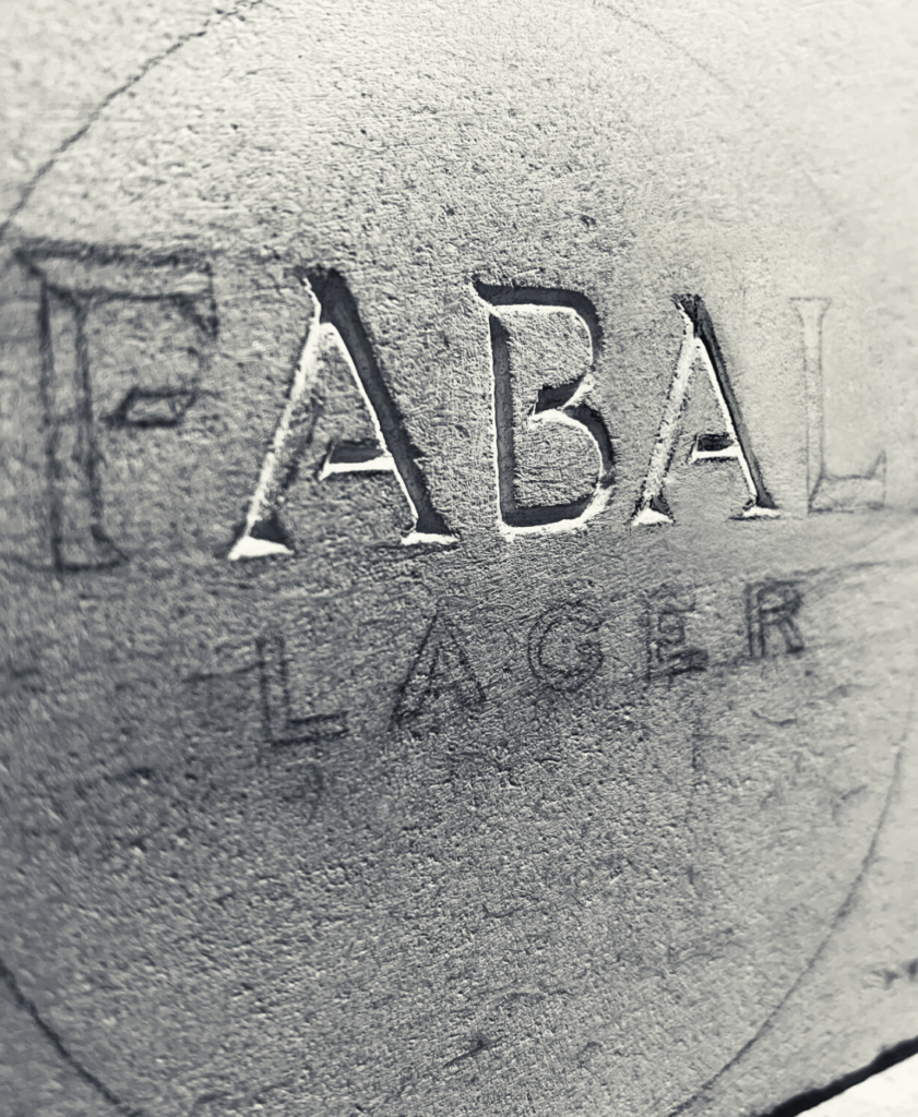 Fabal lager logo carved in stone